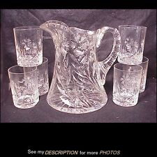 Antique 7pc Cut Glass Water Pitcher & Tumblers Water Lemonade Set Floral