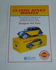 Atlas/Dinky Toys No. 24L Peugeot 402 Taxi, Certificate of Authenticity, Mint
