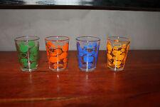 Lot de 4 petits verres shot à digestif LIQUEUR seventies ANCIEN VINTAGE #MH