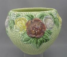 Antique Roseville Pottery Green Rozane 1917 Jardiniere Roses Leaves