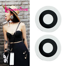60s RETRO STYLE MOD PLASTIC BLACK WHITE ROUND LARGE EARRINGS - UK SELLER