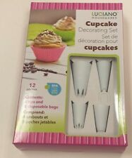 12 pcs Cupcake Decorating Kit 4 Tips Piping Set Cake Decorating Tool with 8 bags