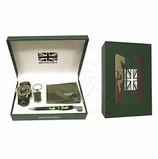 British Army Gift Set with Green Wallet, Pen, Keyring and Boy's Wrist Watch