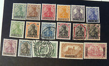 "GERMANY Post Reich SARRE SAAR 1920 "" fr.di GERMANIA 1905-20 OVP"" 17V.MH/US"