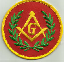 FREEMASONS RED MASONIC SQUARE & COMPASS G MOTORCYCLE BIKER JACKET VEST PATCH