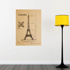 Paris Eiffel Tower Wall Poster  Kraft Paper Art Home Decor Mural Decal