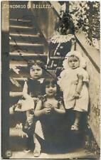 Primi anni 1900 Serina - Bergamo Concorso di Bellezza Bimbe su scale - FP B/N VG
