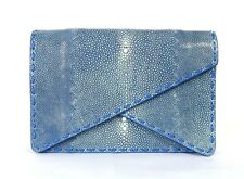 BOTTEGA VENETA $5,000 NWT Blue Shagreen Stingray PIANO Double Flap Clutch Bag