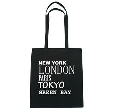 New York, London, Paris, Tokyo GREEN BAY  - Jutebeutel Tasche - Farbe: schwarz