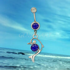 Lovely Blue Rhinestone Dolphin Dangle Surgical Belly Navel Ring Body Piercing