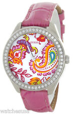 GUESS PAISLEY Women's  Swarovski Crystals Pink Leather Band WATCH U95136L1