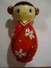 NEW Kokeshi Hand Painted Red Japanese Doll Bank Ceramic Adorable 6 1/2""