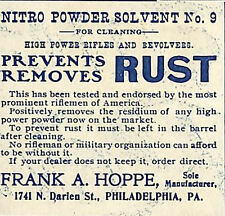 1907 HOPPE NITRO POWDER SOLVENT NO. 9 RIFLE & REVOLVER GUN CLEANER AD