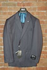 Brand New 36 R Slim Fit Henry Uomo Charcoal / Blue Plaid  2pc Mens Suit