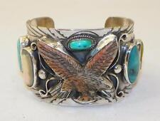GORGEOUS~HAND CARVED~SHELL~TURQUOISE~STERLING~EAGLE BRACELET~BY FRANCISCO GOMEZ