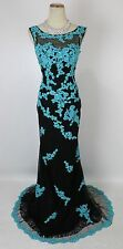 Tony Bowls Size 2 Mermaid Lace Black Turquoise Long Gown Prom Formal Applique