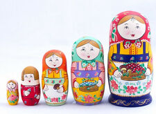 Nesting Dolls Matryoshka Made in Russia Hand Painted Russian Doll w/ Basket 7''