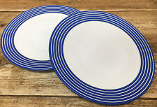 Denby Intro Blue Stripe Cobalt Royal 2 Dinner Plates White Bands England 2nd ?