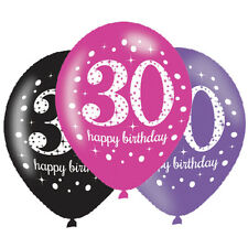 6 x 30th Birthday Balloons Black Pink Lilac Party Decorations Age 30 Balloons