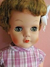 """Vintage 1950'S Hard Rubber Doll 28"""" tall -Green Eyes- With Outfit"""