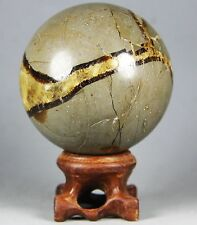 262g Polished DRAGON SEPTARIAN sphere Crystal w/Rosewood Stand Madagascar