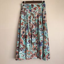 VTG TURQUOISE GREEN FISH/FLORAL PRINTED BUTTON HIGH WAISTED MIDI SKIRT S/M 28""