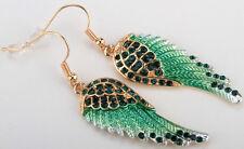 Angel wings dangle earrings women biker bling jewery gift gold green QEC23