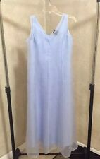Eileen Fisher Dress Periwinkle Blue Full Length Layered Silk Sleeveless Petite