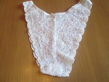 Brazilian style knickers white all over flower print & front bow size 12/14 (B)