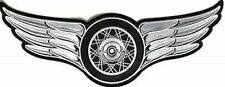 WHEEL ON WINGS WHITE LARGE NEW HIGH QUALITY Club Motorcycle Biker Patch LRG-0494