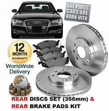 FOR AUDI A8 4.2 TDi  2010-  NEW REAR BRAKE 356mm DISCS SET AND DISC PADS KIT