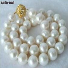 Genuine 9-10MM White Akoya Cultured Pearl Necklace 18'' AAA