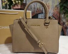 NWT Michael Kors SELMA MED Satchel Crossbody DARK DUNE Saffiano Leather Bag $298