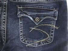 Silver Pioneer Size 29 x 33 Bootcut Distressed Women's Jeans Stretch Flap Pocket