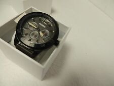 Fossil mens watch BQ1714 GRANT, all stainless 5ATM black face/green band