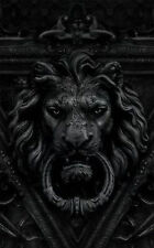 Framed Print - Black and White Gothic Lion Door Knocker (Picture Horror Goth Art