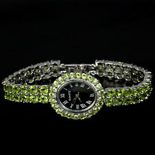 Sterling Silver 925 Two Row Genuine Natural Apple Green Peridot Watch 7.5 Inch