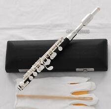 Brand new Black Bakelite Piccolo Flute Silver plated C Tone Italian pad W/Case