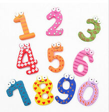 One Set Cute 10 Number Kids Wooden Alphabet Fridge Magnet Child Educational Toy