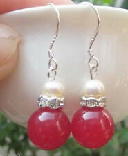 New 12mm-Natural-ruby-Jade-White-Pearl Silver-Dangle-Earrings
