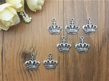 Wholesale 10pcs Tibet silver Crown Charm Pendant beaded Jewelry Findings