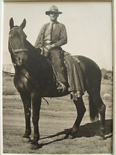 ANTIQUE INDIANA HOOSIER COWBOY HORSE SADDLE SPURS HAT BOOTS SIGN IN MAN PHOTO