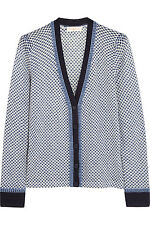 NWT $295 TORY BURCH Fallon Printed Blue Polka Dot Wool Cardigan Sweater Size L