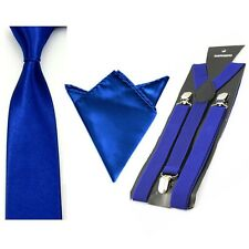Mens Solid Color Elastic Suspenders Braces Tie Necktie Handkerchief Hanky Set