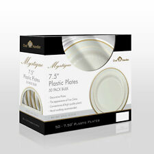 """Plastic Plates Beige with Gold Trim 7.5"""" plates 50 pcs in a Box"""