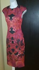 Ted Baker London  Jungle Orchid Maroon Fitted Midi Dress Size 2(Ted 0)