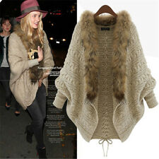 Women's Cardigan Capes Pull Women Fashion Knitted Wool Sweater Jacket Bat Sleeve