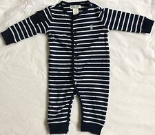 New Baby Boys Ralph Lauren Long Sleeves Body Suit/Romper 3M-Navy/White Stirp