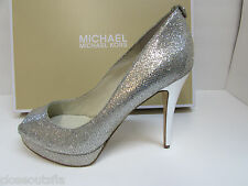 Michael Kors Size  8 M Silver Glitter Heels New Womens Shoes
