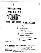 REFINISHING MATERIALS INSTRUCTION MANUAL APPLIANCES CABINETS DUPONT JANUARY 1949